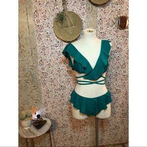 missguided green flowy wrap around bikini